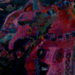 Розовое на черном, картон, смешанная техника, 56х65, 2016