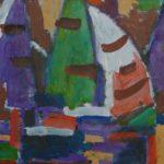 Фиолетовые паруса, бумага, смешанная техника, 42,5х61, 2017
